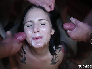 Gangbang with Stella Raee ends with her her being unseeable in cum