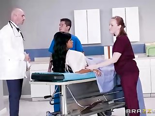 Buxom dark-hued woman with a adorable tat, Mary Jean is pulling her doctor's massive man-meat, in his assignment