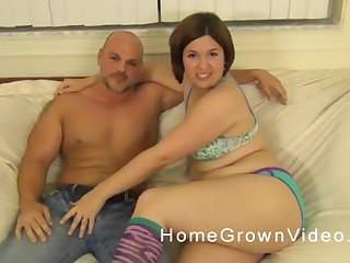 Big brunette takes off her panties and sits on a everlasting cock