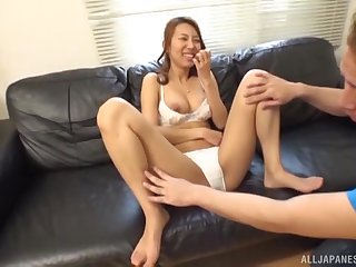 Teen Japanese blonde babe pounded doggy style after a blowjob