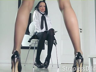 A distress legged teacher gets feeldoe pounding