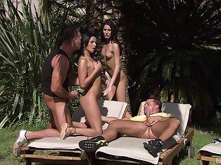 Hardcore alfresco foursome with Renata Menacing and Josette Finest