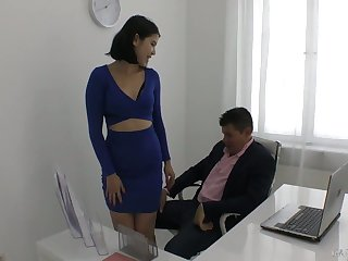 Yummy young secretary Lady Dee plays with hard learn of of their way frying boss