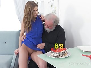 Grotesque bearded pervert eats and fingers juicy pussy of lusty virgin live-in lover