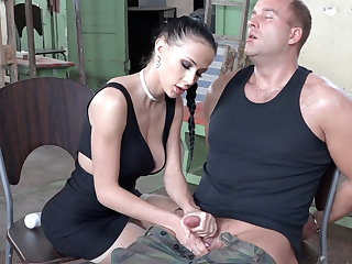 Sexy brunette performance with dick of military