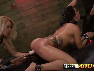 Two complete whores chasten tied up floozie Ava Kelly in the BDSM room