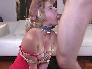 Submissive hoe Lisey Sweet stands on knees while giving proper blowjob