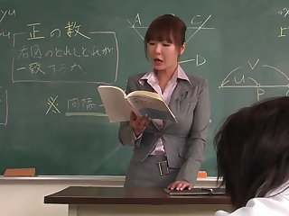 Lecturer helps a well-draped schoolgirl to concentrate insusceptible to the homework