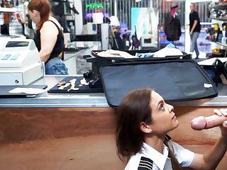 Latina stewardess suck big dick to pawnshop