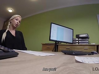 Blonde hottie with pigtail is owned by grant manager be advantageous to cash