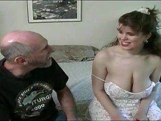 Tessa respecting a venerable fart - big mammaries