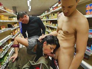 Amateur sucks and fucks before supermarket