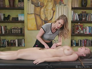 During the knead Cadence Lux gets her pussy eaten by her masseur