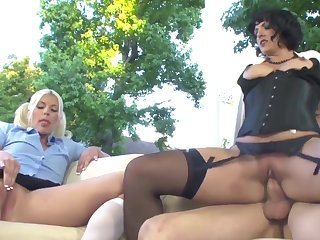 Blonde cutie gets fucked by a guy coupled close to a kinky MILF close to a strap beyond