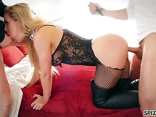 Whorable and super sexy MILF Cherie Deville tries out dewy MMF 3some
