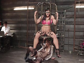 Torture dungeon sexual congress with a strapon with Aiden Starr increased by Mia Little