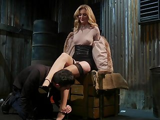 Horny popsy Mona Wales bangs tied up submissive clothes-horse with the addition of sucks his bushwa