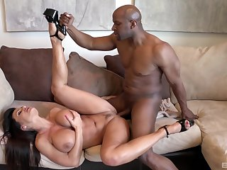 Black man's sperm fills her tits after a amoral interracial shag