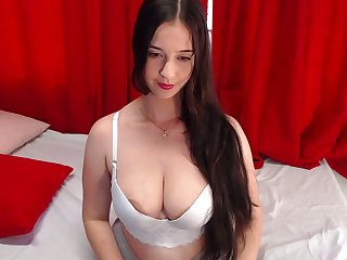 Her D cup bra cannot cover their way huge boobs