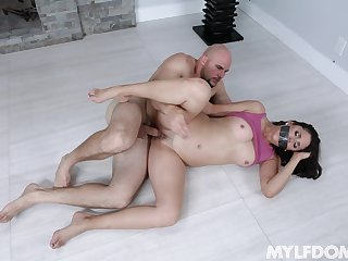 Gagged cougar MILF fucked merciless apart from guy with mammal dick