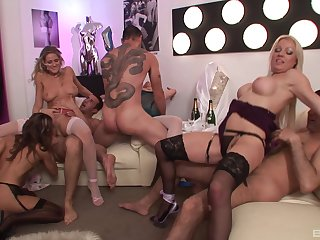 Sexy MILFs in group orgy dealing a bunch of soaked dicks
