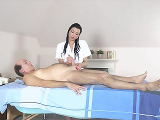 Flexible babe gives massage to older man then fucks him
