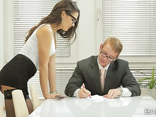 Office handsomeness strips for her boss increased by lets him fuck her a little
