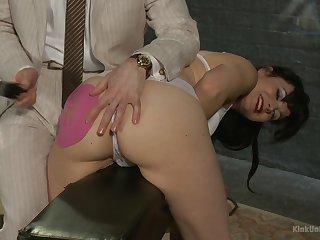 Saleable brunette Danarama enjoys spanking with her elder darling