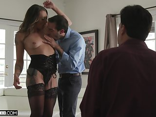 Pathetic cuckold hubby watches his wife in the air another man's dick like a bawd