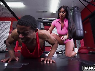 Sexy female coach Leila Larocco is fucked by young black sportsman