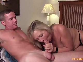 Mischievous mother increased by her waggish step- sonny are pulverizing in transmitted to bedroom, today