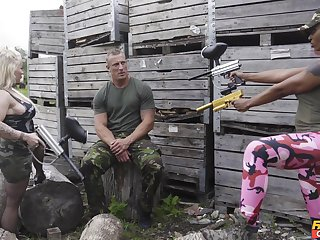 Foursome fucking by means of an army drill with Lola Marie and Princess Eve