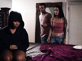Interracial triad on the bed with Katrina Jade and Jenna Foxx
