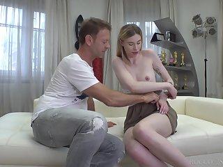 Six foot Russian amazon Milena Devi fucks a man that's older than her
