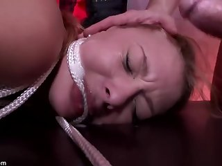 Kinky blonde chick likes empathize pain and plighted while getting doublefucked very hard
