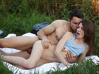 Nelya and her boyfriend enjoy romantic outdoor sexual congress