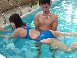 Leader Japanese wife Kawai Asuna fucked balls abyss by the pool