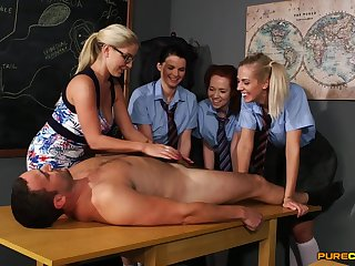 Peel of naughty university girls sucking one massive dick unaffected by the table