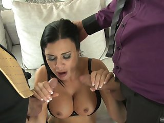 Slutty wife Jasmina Jae always wanted to have sex with two guys