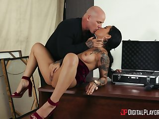 Bald dude ass fucks this tattooed chick the hard way