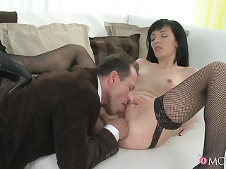 Hot to trot MILF gets laid with an increment of swallows sperm in an obstacle end