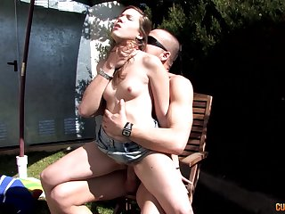 Hardcore outdoors fucking relative to load of shit hungry brunette who loves cum