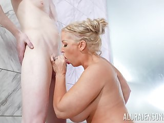 Alura Jenson treats a gent with her huge fun bags and cunt in all directions the shower