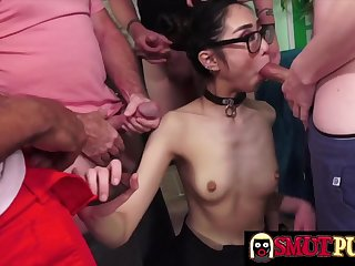 Cock hungry sluts enjoy taking multiple dicks in their mouth