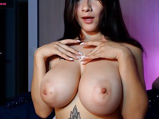 Young sexy unlighted with big naturals Charlotte114 solo on webcam