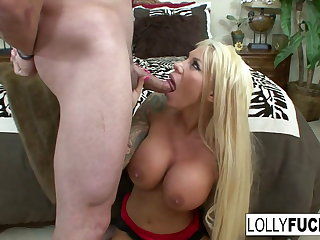 Sexy Lolly sucks his cock coupled with swallows his cum