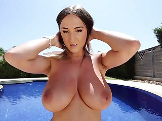 Stacey Poole respecting Lavender Sheen Bikini - Big natural tits minus by the pool